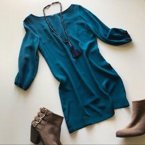 Amour Vert 100% Silk Dress Teal Mini Anthro